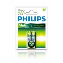 باتری نیم قلمی 900میلی آمپر دوتایی قابل شارژ فیلیپس PHILIPS R03.MICRO