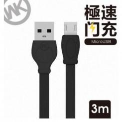 کابل شارژ میکرو USB دبلیو کی (3متری ) WK WDC-023