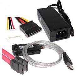 کابل تبدیل هارد و رایتر ساتا و آی دی ایی به پورت یو اس بی USB 2 TO SATA/IDE CABLE